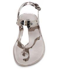 MICHAEL Michael Kors Metallic Mk Plate Jelly Sandals - Gold