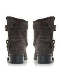 Dune - Gray Philee Clean Buckle Biker Boots - Lyst