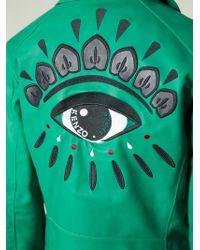 KENZO Green K Zipped Biker Jacket