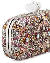 Marchesa Lilly Medium Crystal Minaudiere Clutch Pink Multi