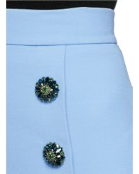 Dolce & Gabbana Blue Jewelled Button Front Double Crepe Skirt