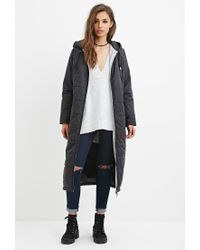 Forever 21 - Black Hooded Longline Puffer Jacket You've Been Added To The Waitlist - Lyst