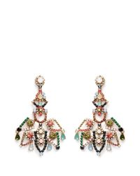 J.Crew | Multicolor Crystal Lace Earrings | Lyst