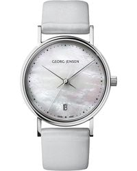 Georg Jensen - Gray Koppel Stainless Steel, Mother-of-pearl And Satin Watch 32mm - Lyst