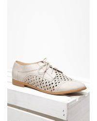 Forever 21 - Gray Faux Leather Chevron-cutout Oxfords - Lyst