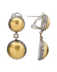 Gurhan | Metallic Sterling Silver & 24k Gold Flattened Back Double Pendant Earrings | Lyst