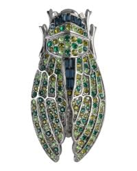 Kenneth Jay Lane | Green Gunmetal-Plated Crystal Brooch | Lyst
