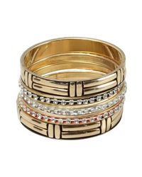 Chamak by Priya Kakkar | Metallic Set Of 5 - Gold, Black And Red Enamel And Crystal Bangles | Lyst