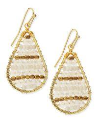 Nakamol Green Golden Beaded Dangle Earrings