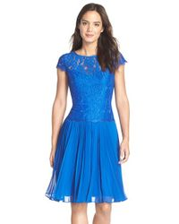 Adrianna Papell Blue Pleated Lace Drop Waist Dress