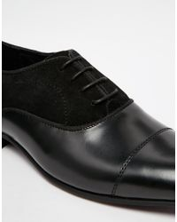 ASOS - Oxford Shoes In Black Leather And Suede for Men - Lyst