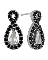 Lord & Taylor | Black Sterling Silver And Two Tone Cubic Zirconia Pendant Earrings | Lyst