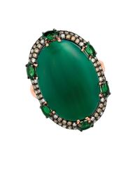 Marco Moore - 14k Rose Gold, Green Garnet And Diamond Ring - Lyst