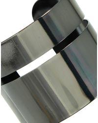 ASOS - Gray Double Bar Cuff Bracelet - Lyst