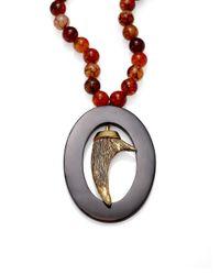 Nest - Brown Agate & Black Horn Pendant Necklace - Lyst