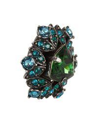 Lanvin Green Iconic Gunmetal-Tone Crystal Clip Earrings