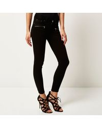 River Island - Black Low Rise Amelie Superskinny Jeans - Lyst