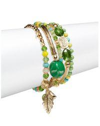 Cara | Green Multi Strand Bracelet | Lyst