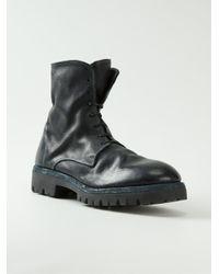 Guidi Blue Lace-Up Buffalo-Leather Boots