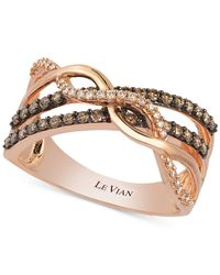 Le Vian | Pink Chocolate And White Diamond Crossover Ring In 14k Gold (3/8 Ct. T.w.) | Lyst
