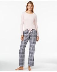 Calvin Klein | Gray Top And Flannel Pajama Pants Set | Lyst