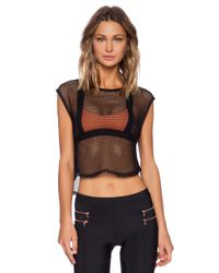 Blue Life Black Fit Fishnet Muscle Tee