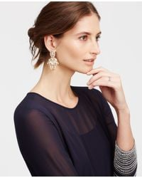 Ann Taylor - Metallic Crystal Drop Statement Earrings - Lyst