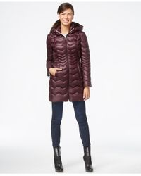 Laundry by Shelli Segal | Purple Hooded Down Puffer Coat | Lyst