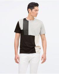 Zara | Black Mixed Fabric T-shirt for Men | Lyst