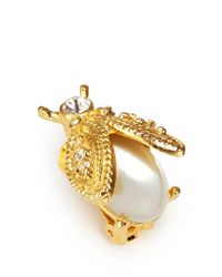 Kenneth Jay Lane White Faux Pearl Ladybug Clip Earrings
