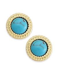 Lauren by Ralph Lauren - Blue Goldtone Bezelset Stone Button Earrings - Lyst