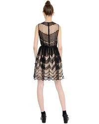 RED Valentino - Black Embroidered Tulle & Organza Dress - Lyst