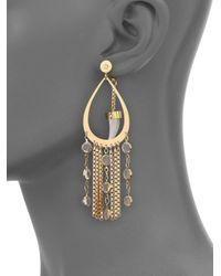 House of Lavande   Metallic Nihiwatu Mother-of-pearl & Crystal Double-sided Fringe Teardrop Earrings   Lyst