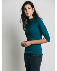 Free People | Blue Modern Mock Neck | Lyst