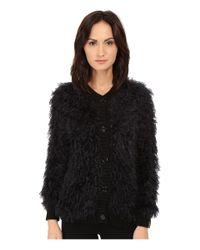 Love Moschino - Black Furry Cardigan Sweater - Lyst