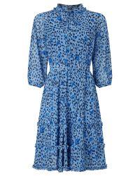 Somerset by Alice Temperley - Blue Leopard Print Dress - Lyst