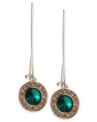 RACHEL Rachel Roy - Rose-Gold-Tone Green Stone Linear Drop Earrings - Lyst