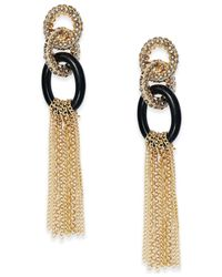 INC International Concepts | Metallic Two-tone Pavé Link Tassel Earrings | Lyst