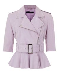 French Connection Purple Desert Suede 3/4 Sleeved Belted Jacket