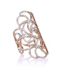 Ileana Makri | Metallic 18kt Rose Gold Lace Ring With Brown Diamonds | Lyst