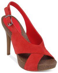 BCBGeneration | Red Greer Criss Cross Footbed Platform Dress Sandals | Lyst