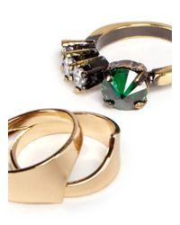 Iosselliani - Crystal And Metallic Rhinestone Three Ring Set - Lyst