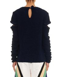 Rosie Assoulin Blue Cut-Out Hand-Knitted Silk Sweater