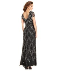 Adrianna Papell - Black Cap-sleeve Beaded Illusion Gown - Lyst