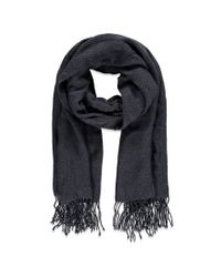 Forever 21 - Gray Tasseled Two-tone Scarf - Lyst