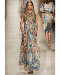 Etro Multicolor Lurex Woven Cashmere & Silk Long Dress