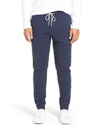 Michael Stars | Blue French Terry Knit Jogger Pants With Raw Edge Details for Men | Lyst