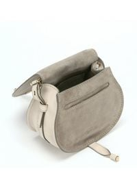 Chloé - White Abstract Calfskin 'Marcie Nude' Small Saddle Bag - Lyst