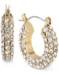 Macy's | Metallic M. Haskell Gold-Tone Pavé Crystal Thick Hoop Earrings | Lyst