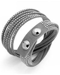 Swarovski - Gray Fabric Crystal Wrap Bracelet - Lyst